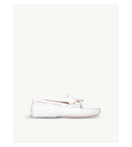 TODS Laccetto Gommini driving shoes 3-7 years (White/oth