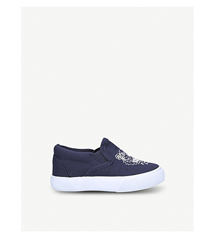 KENZO Deno tiger motif canvas trainers 6 months – 4 years (Navy