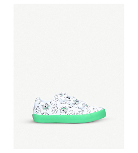KENZO Dal leather trainers 8-10 years (White/comb
