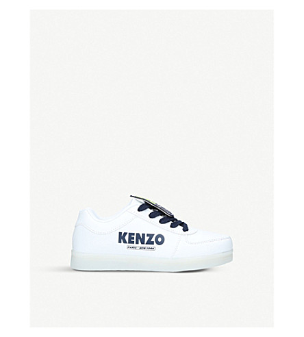 KENZO Doopy light-up leather trainers 3 – 9 years (White/oth