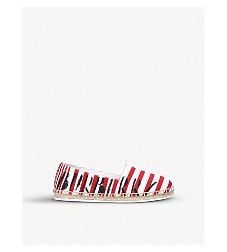 BURBERRY Peckfield canvas and leather espadrilles 4-9 years (Red