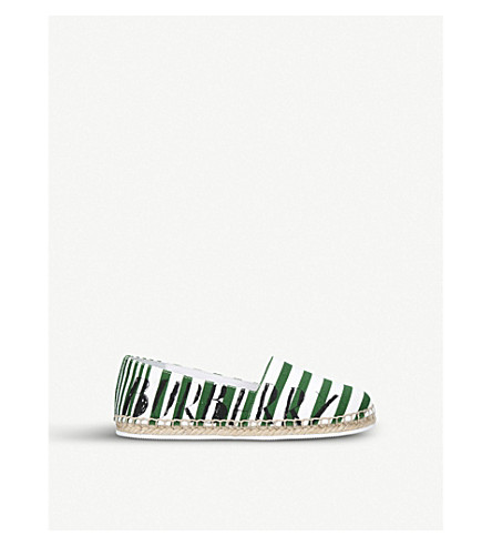BURBERRY Peckfield canvas and leather espadrilles 4-9 years (Green