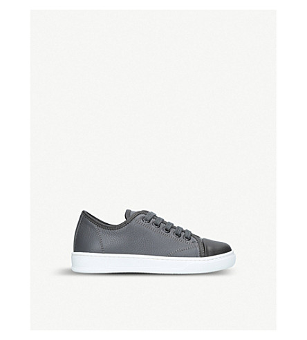 LANVIN Cap-toe leather trainers 6-9 years (Grey/dark