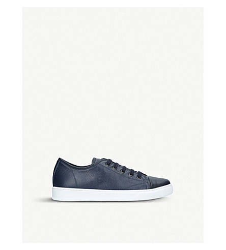 LANVIN Cap-toe leather trainers (Navy