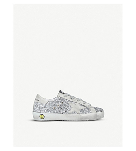 GOLDEN GOOSE Superstar R8 glitter-embellished leather trainers 6-9 years (Silver