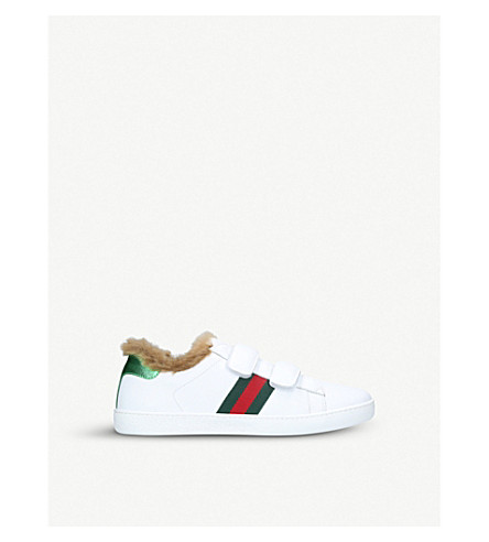GUCCI New Ace shearling-lined leather trainers 4-8 years (White