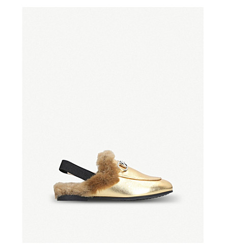GUCCI 普林斯顿羊毛金属皮革 slingback 乐福鞋 4-8 岁 (金