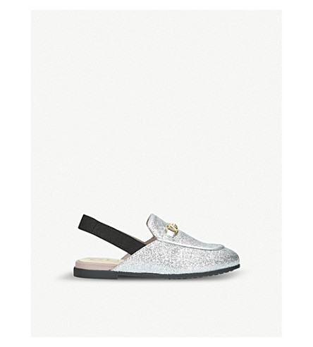 GUCCI Princetown glittered leather slingback loafers 3-4 years (Silver