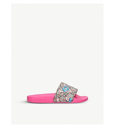 GUCCI 追逐小鹿打印橡胶拖鞋 8-9 岁 (粉红色 + 梳子