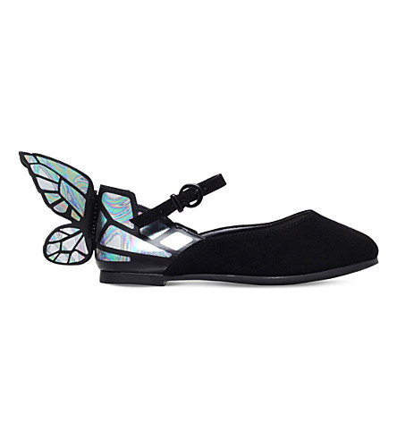 SOPHIA WEBSTER Chiara Mini butterfly ballet flats 2-8 years (Black