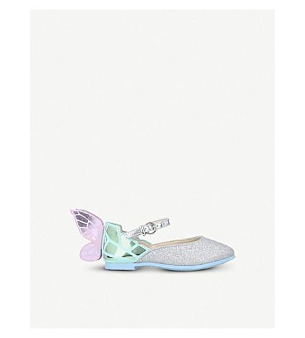 SOPHIA WEBSTER Chiara 迷你金属和亮片皮革芭蕾舞团平底鞋 2-8 岁(银