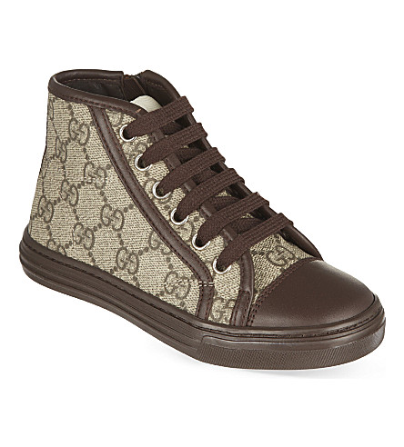 GUCCI GG print high-top sneakers 5-8 years (Beige+comb