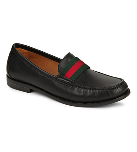 GUCCI James leather loafers 8-10 years (Black/comb