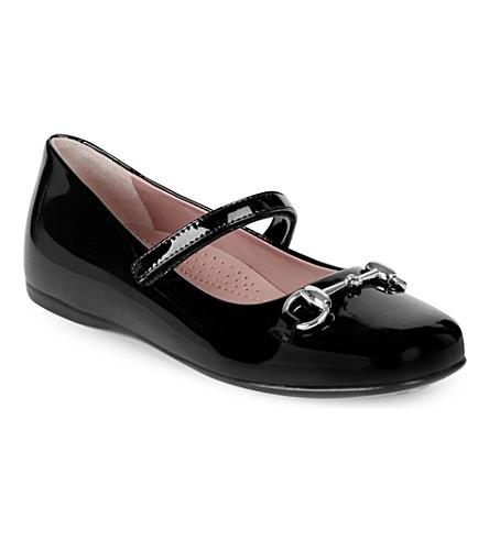 GUCCI 丽莲专利玛丽简鞋4-8 年 (黑色