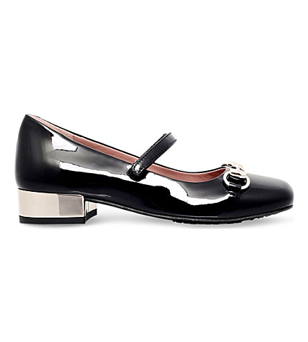 GUCCI Lillian patent-leather heeled shoes 5-8 years (Black