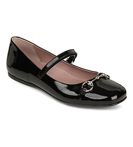 GUCCI Lillian mary jane patent leather ballet shoe 8-9 years (Black