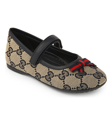 GUCCI Logo-print ballet shoes 1-5 years (Navy
