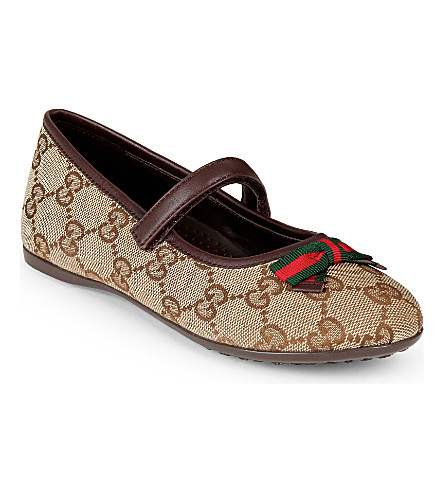 GUCCI Marylin logo-print ballet shoes 4-8 years (Brown