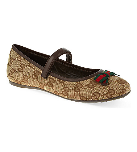 GUCCI Marylin logo Mary Janes 8-9 years (Brown
