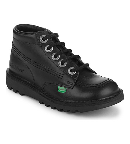 KICKERS Kick hi youth leather boots 6-9 years (Black