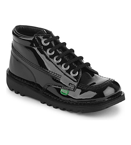 KICKERS Kick Hi patent boots 7-9 years (Black