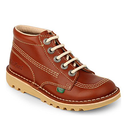 KICKERS Kick hi leather boots 7-9 years (Tan