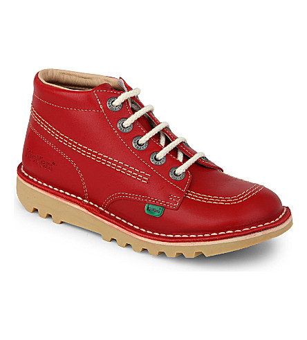 KICKERS Kick hi leather boots 7-9 years (Red