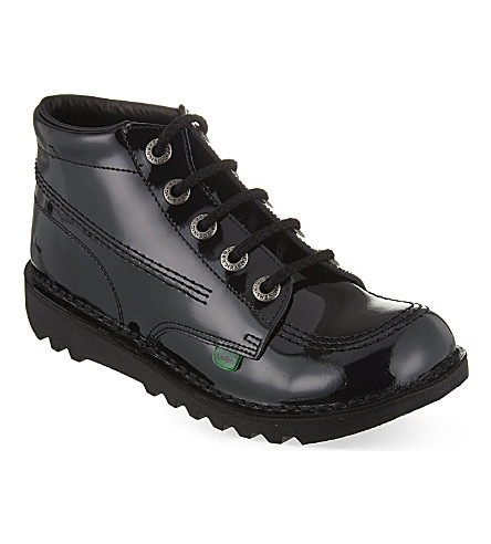 KICKERS Kick Hi Youth patent boots 9-11 years (Black