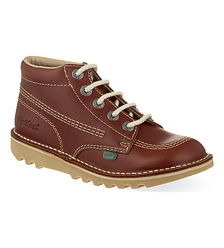 KICKERS Leather boots 10-11 years (Tan
