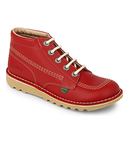 KICKERS Kick hi leather shoes 9-11 years (Red