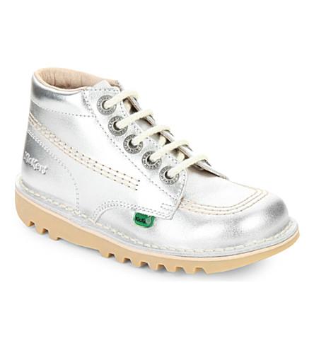 KICKERS Kick hi metallic leather sneakers 3-7 years (Silver