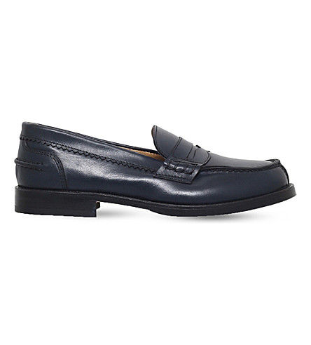 GALLUCCI Leather moccasin loafers 7-9 years (Navy