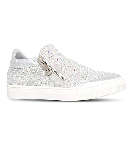MISSOURI Embellished leather trainers 6-7 years (Silver