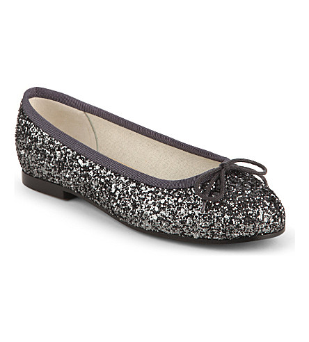 FRENCH SOLE Henrietta glitter ballet flats 4-9 years (Grey/dark