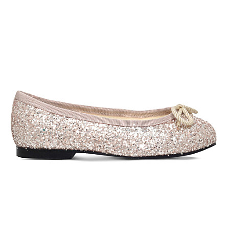 FRENCH SOLE Henrietta glitter-embossed leather ballerina flats 5-8 years (Nude