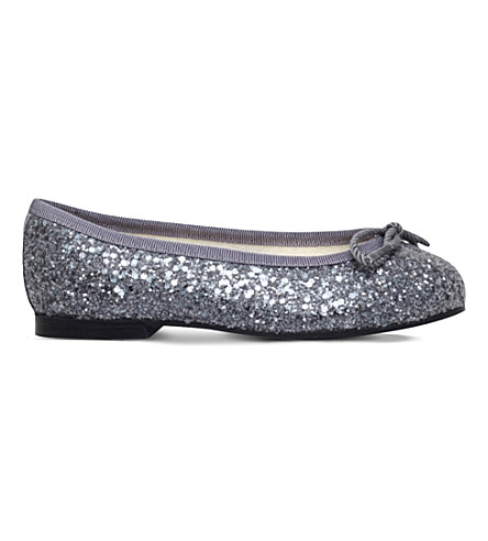 FRENCH SOLE Henrietta glitter-embossed leather ballerina flats 5-8 years (Silver