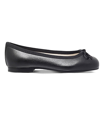 FRENCH SOLE Henrietta leather ballerina flats 5-8 years (Black