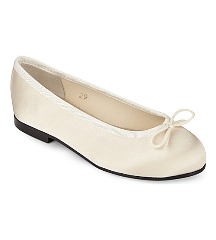 FRENCH SOLE Henrietta satin ballerina pumps (Winter+wht
