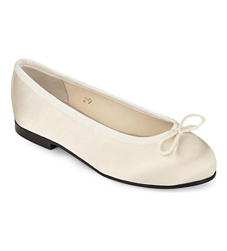 FRENCH SOLE Henrietta satin ballerina pumps (Winter+wht