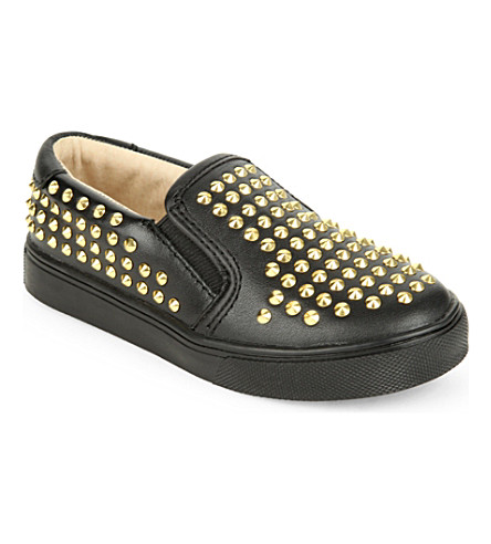 AKID Liv studded leather shoes 4-7 years (Black/comb