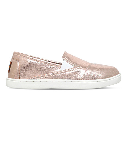 TOMS Avalon metallic slip-on shoes 6-10 years (Gold