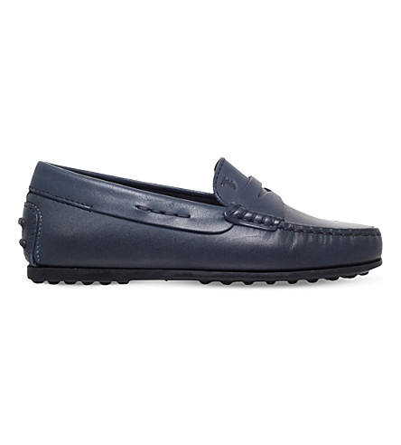TODS Moccassino leather driving shoes 6-9 years (Navy