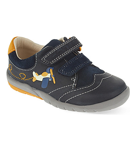CLARKS Softly Liam leather shoes 2-4 years (Blue/drk.c
