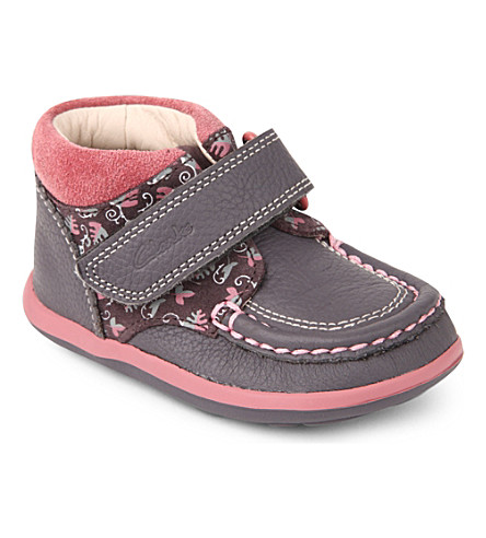 CLARKS Alana Erin leather boots 6 months-3 years (Grey