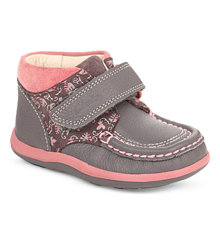 CLARKS Alana Erin leather boots 1-3 years (Grey