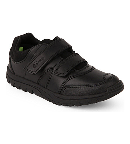 CLARKS Jackspring leather trainers 6-7 years (Black