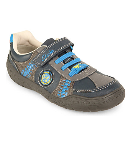 CLARKS Stomp roll leather shoes 3- 7 years (Blue/dark
