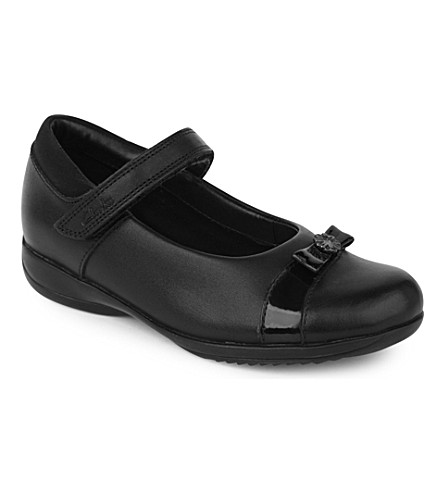 CLARKS Daisy locket leather shoes 6-7 years (Black