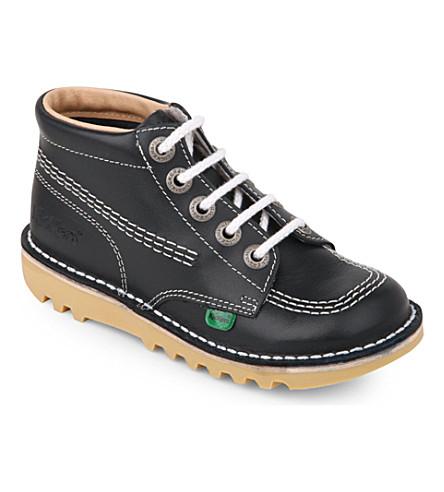 KICKERS Kick hi leather shoes 7-9 years (Navy