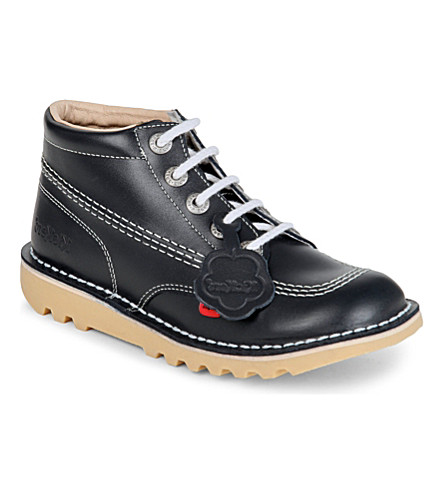 KICKERS Kick hi leather boots 9-10 years (Navy